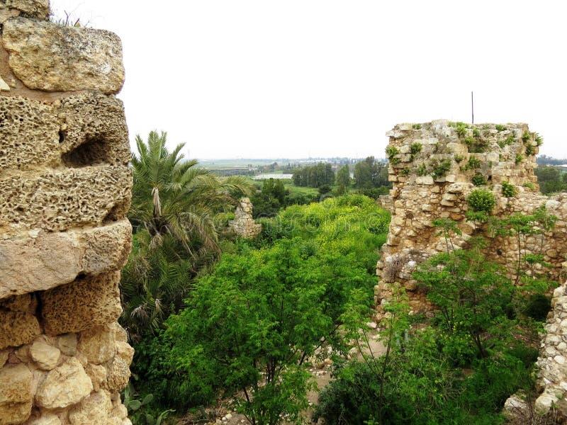 Antiche rovine del Forte di Kakoon, Hefer Valey, Israele fotografia stock libera da diritti