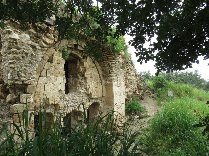 Antiche rovine del Forte di Kakoon, Hefer Valey, Israele fotografie stock libere da diritti