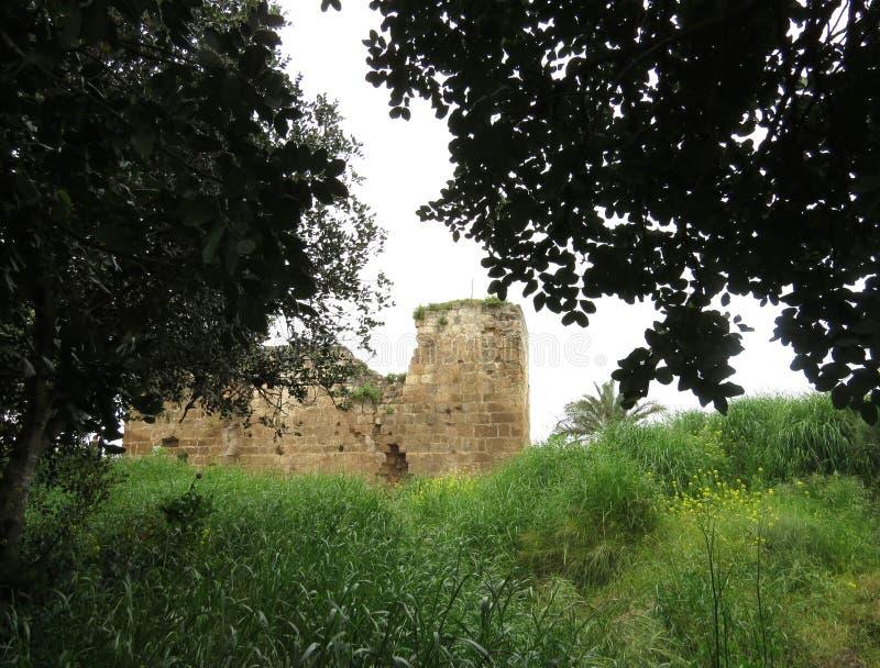 Antiche rovine del Forte di Kakoon, Hefer Valey, Israele immagine stock libera da diritti