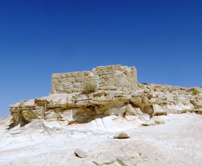 Antiche rovine della città di Nabataean nel deserto di Negev, Israele fotografia stock