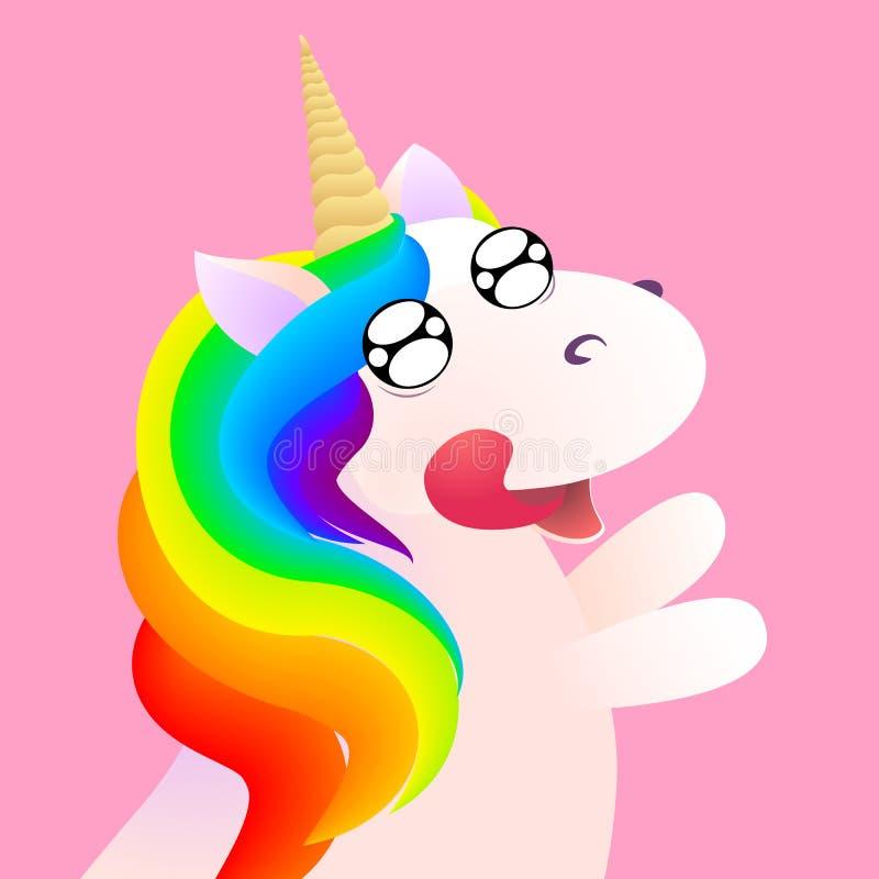 Anticipación cómica linda de la emoción del unicornio Ilustración común del vector ilustración del vector