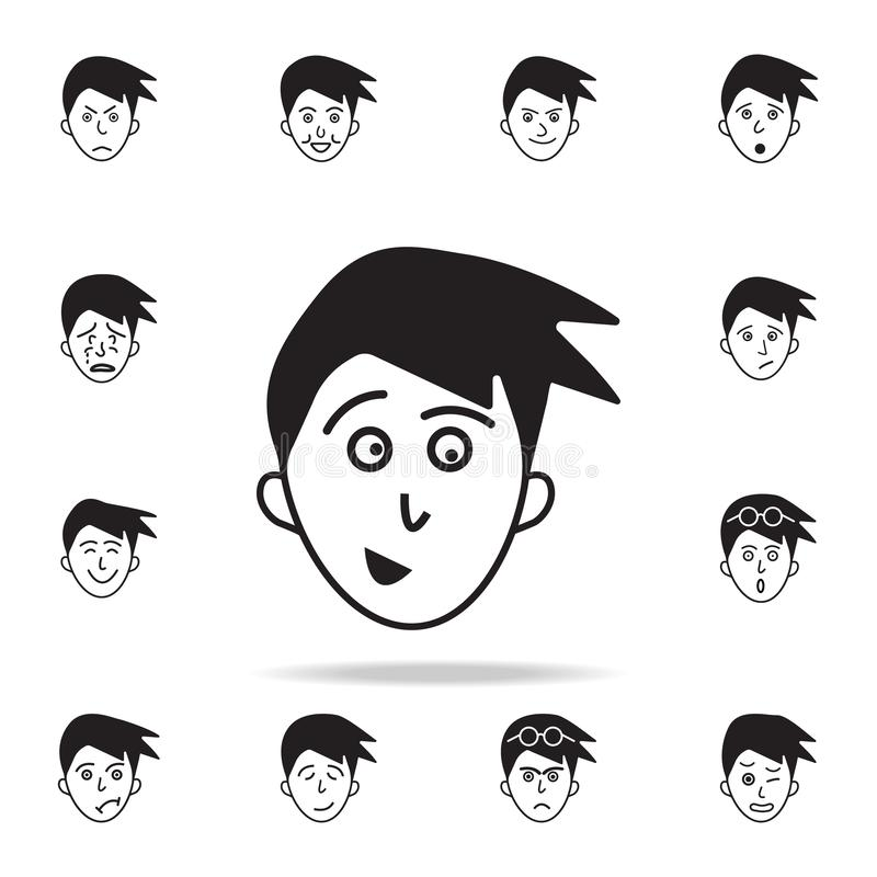 anticipación del icono de la cara Sistema detallado de iconos faciales de las emociones Diseño gráfico superior Uno de los iconos libre illustration