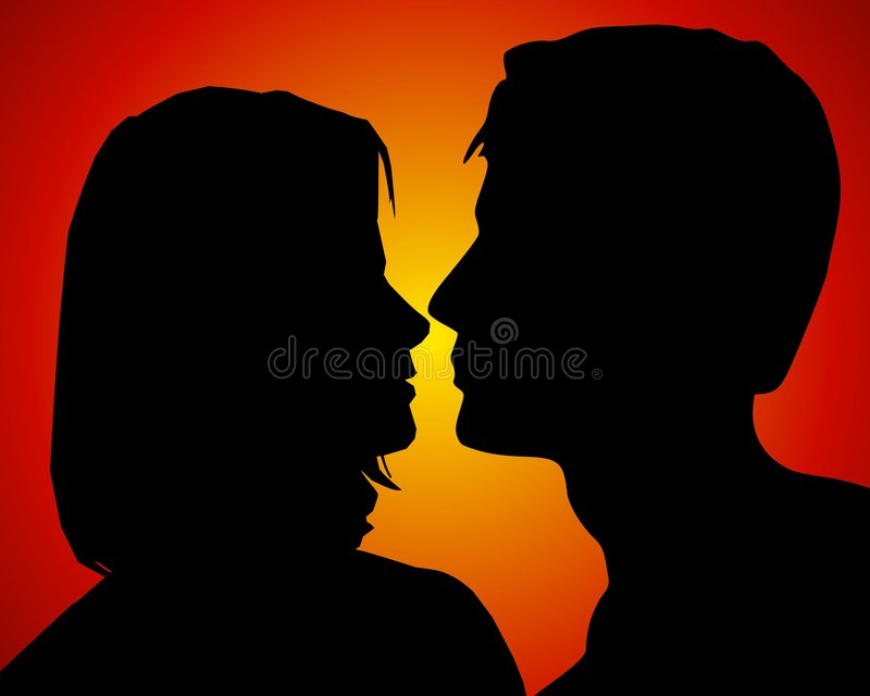 Anticipating Romantic Kiss Couple. An illustration featuring a man and woman ready to kiss with steamy red gold background adding to the passionate display of vector illustration