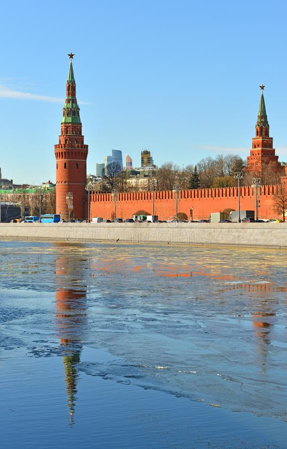 Anticipation of spring. Kremlin Towers and reflection in Moscow river. Russia stock photography