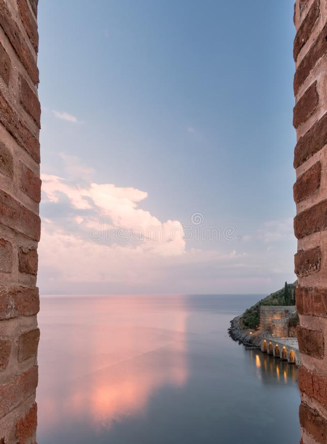` Antico di Tersane del ` del cantiere navale nel castello di Alanya Alanya, Turchia immagine stock