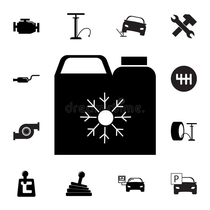 anticongelante Silhueta vasilha ícone Grupo de ícones do reparo do carro Sinais, coleção do eco do esboço, ícones simples para os ilustração royalty free