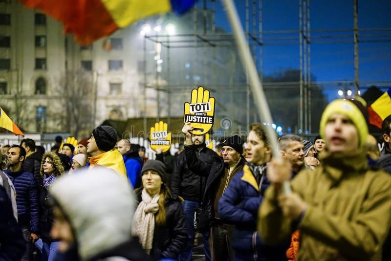 Anticorruptieprotest, Boekarest, Roemenië stock foto's