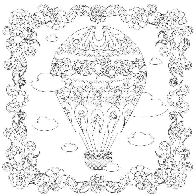 Antidruckzusammenfassungsballon, Wolken, quadratischer blühender Rahmen vektor abbildung