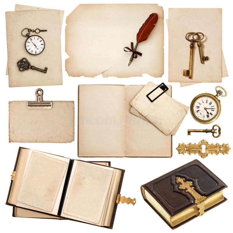 Antiek boek en uitstekende die toebehoren op wit wordt geïsoleerd stock foto