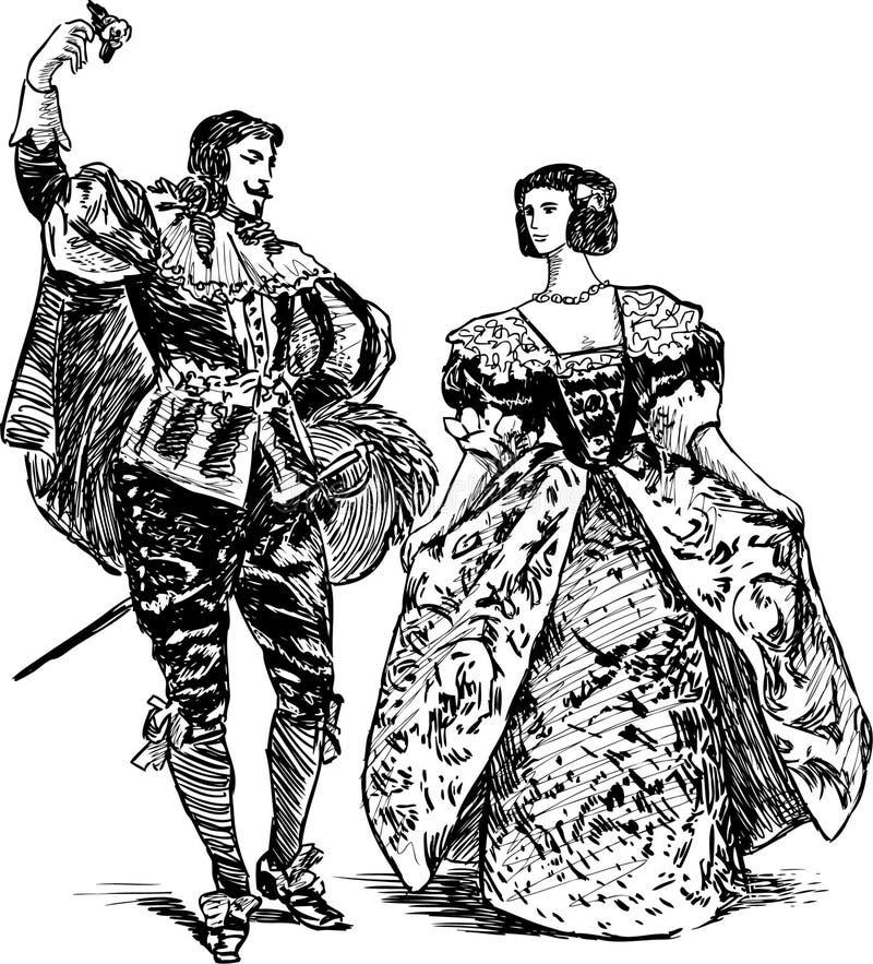 Antiek danserspaar vector illustratie