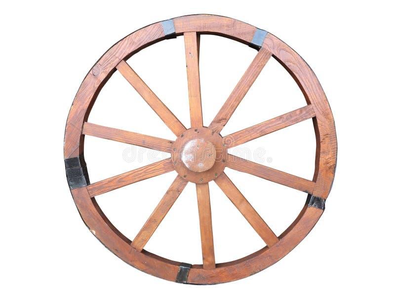 Antiek die van houten wordt gemaakt en ijzer-gevoerd Karwiel geïsoleerd stock afbeeldingen