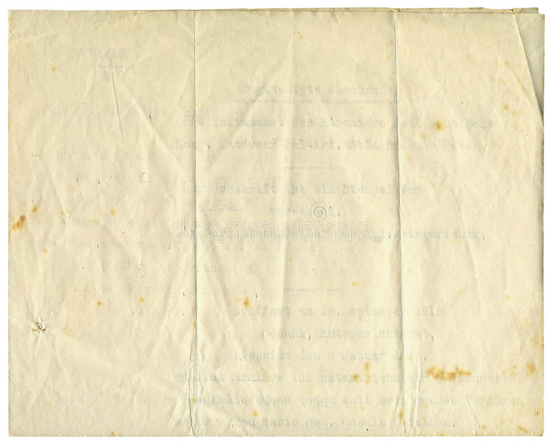 Antiek document, 1916 stock fotografie