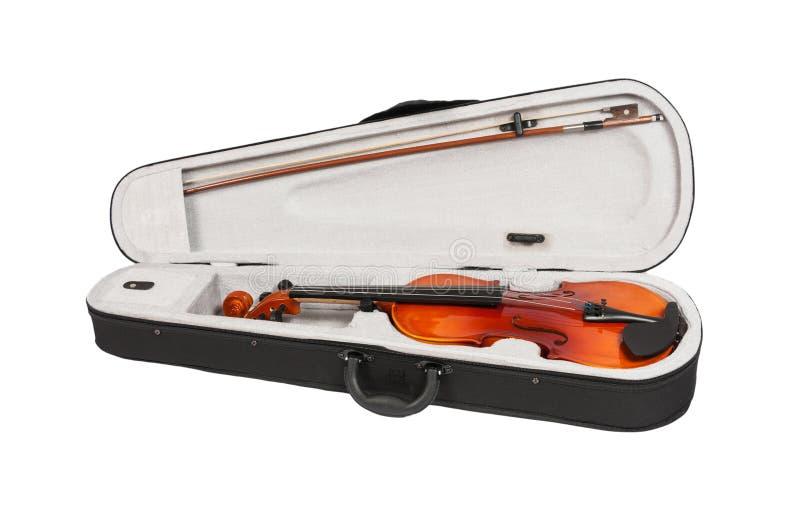 Antiek fiddle-geval en viool op een witte achtergrond royalty-vrije stock foto's