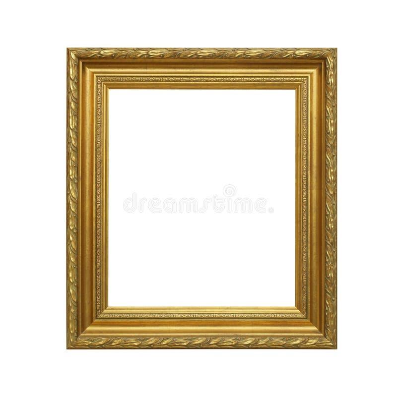 Antiek gouden die kader op witte achtergrond wordt geïsoleerd stock afbeeldingen