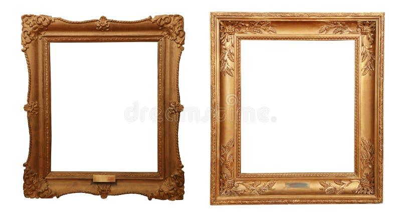 Antiek gouden die kader op witte achtergrond wordt geïsoleerd stock afbeelding