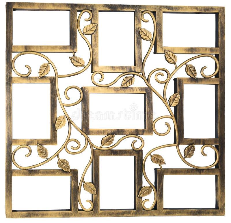 Antiek gouden fotokader met elementen van bloemen gesmeed ornament Reeks 9 negen kaders Geïsoleerdj op witte achtergrond royalty-vrije stock foto's