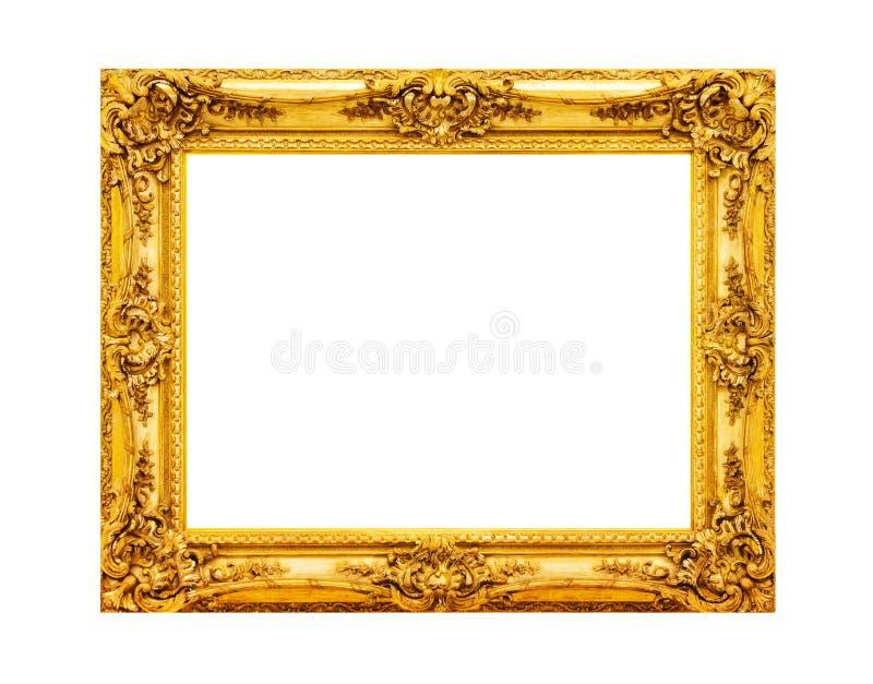 antiek gouden houten die kader op wit wordt geïsoleerd stock afbeeldingen