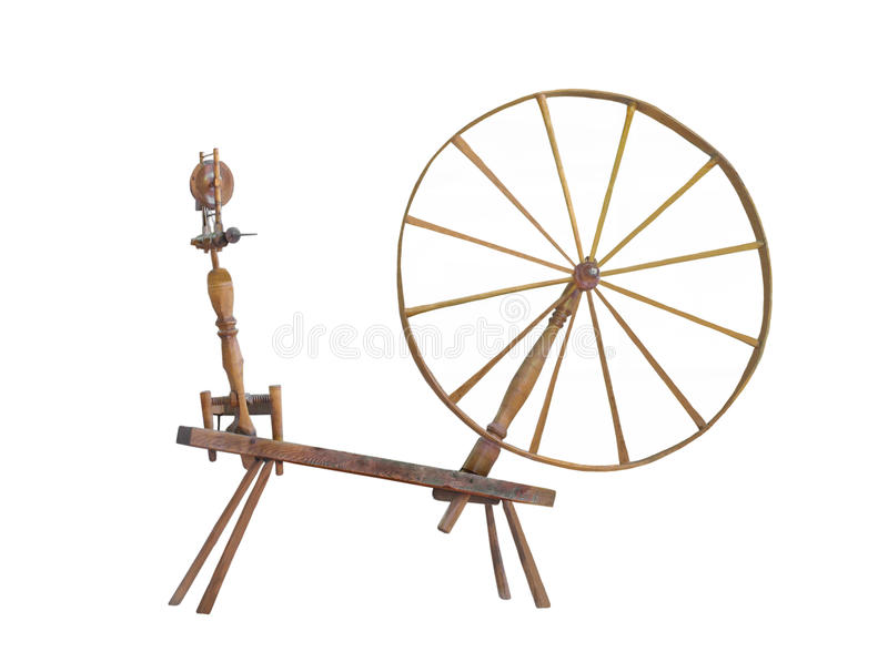 Antiek groot geïsoleerd wielspinnewiel. stock afbeelding