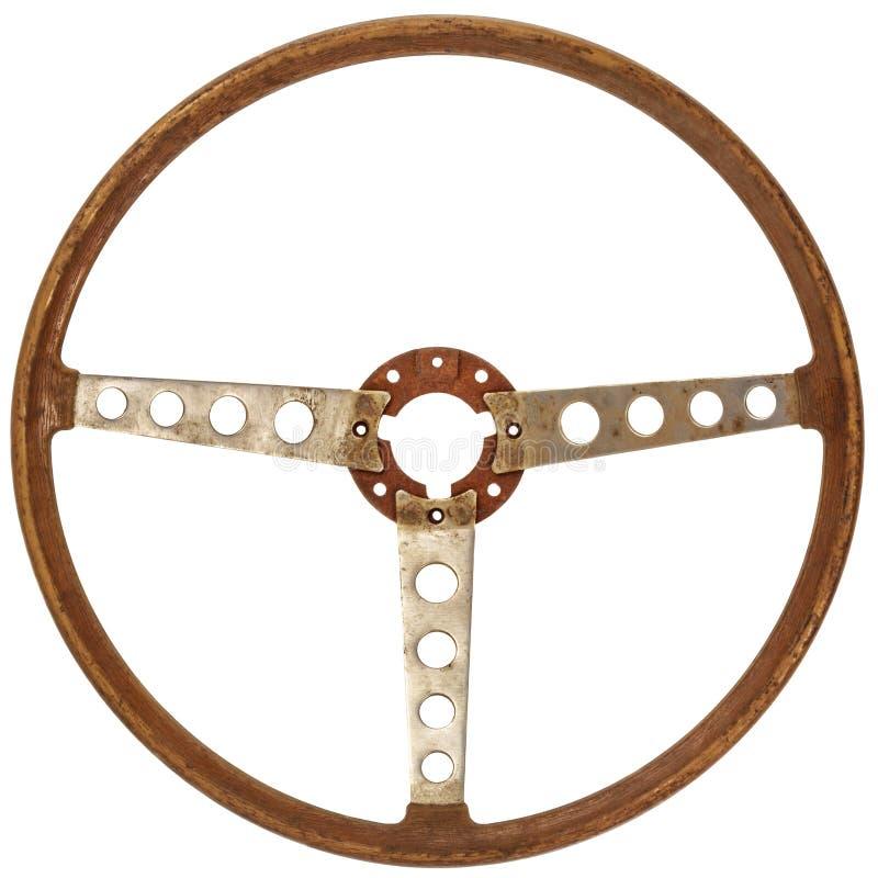 Antiek houten die autostuurwiel op wit wordt geïsoleerd royalty-vrije stock afbeelding