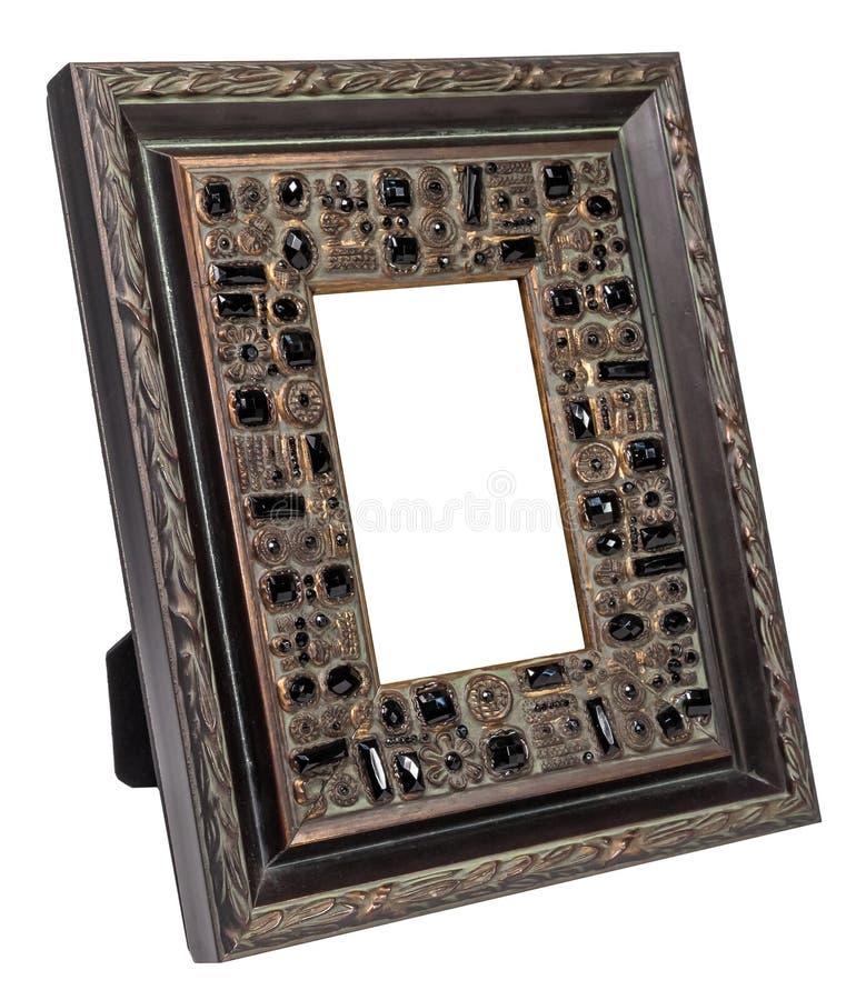 Antiek houten die fotokader op witte achtergrond wordt geïsoleerd royalty-vrije stock afbeeldingen
