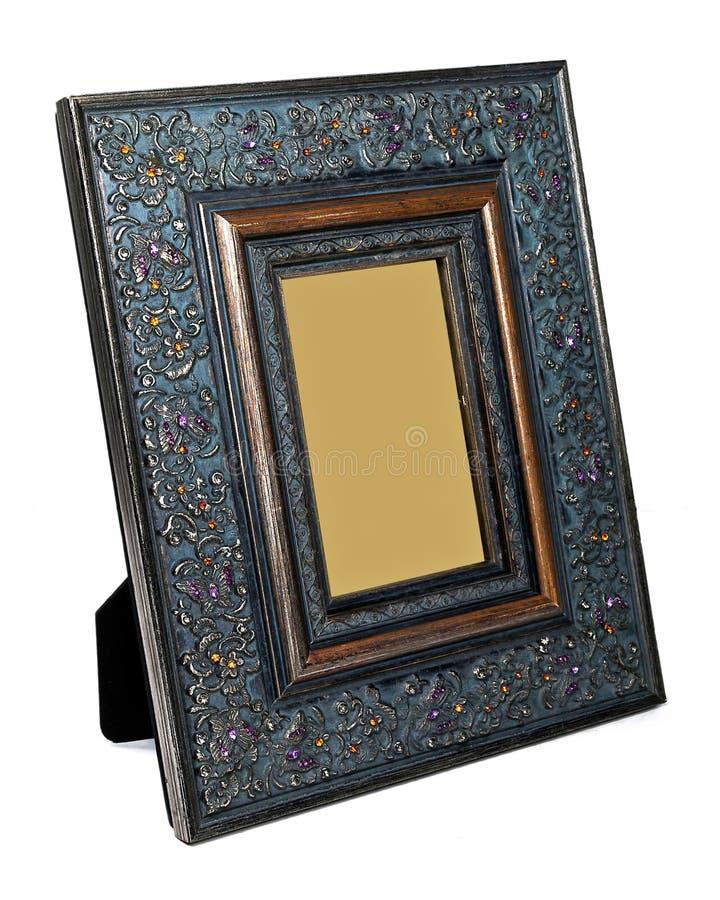 Antiek houten die fotokader op witte achtergrond wordt geïsoleerd stock foto's