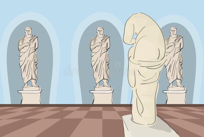 Antiek kunstmuseum royalty-vrije illustratie