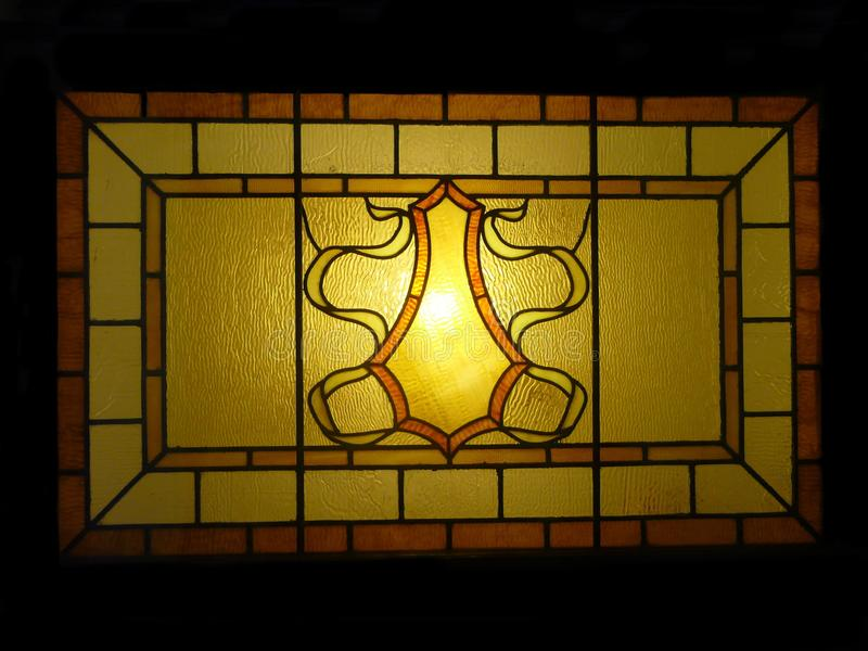 Antiek Leaded Art Stained Glass Window royalty-vrije stock foto's
