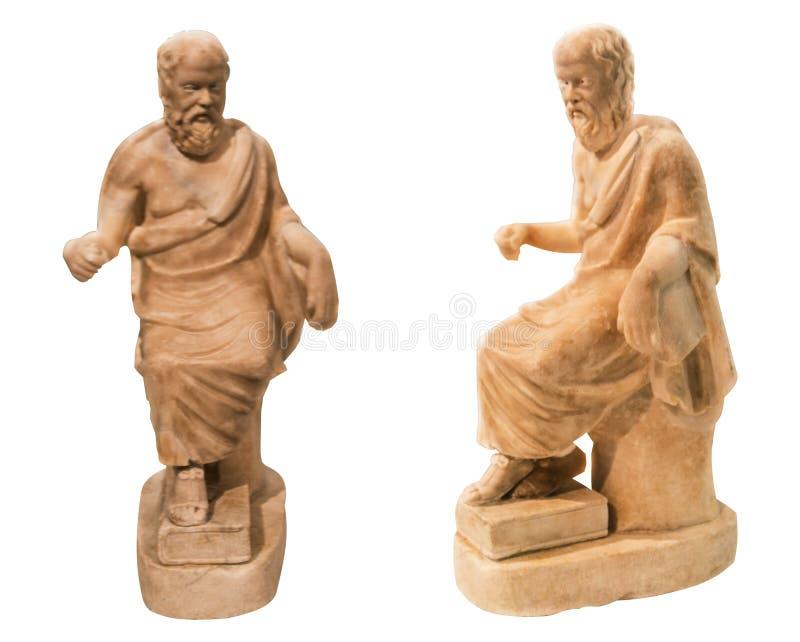 Antiek marmeren beeldje van ge?soleerd Socrates royalty-vrije stock afbeeldingen