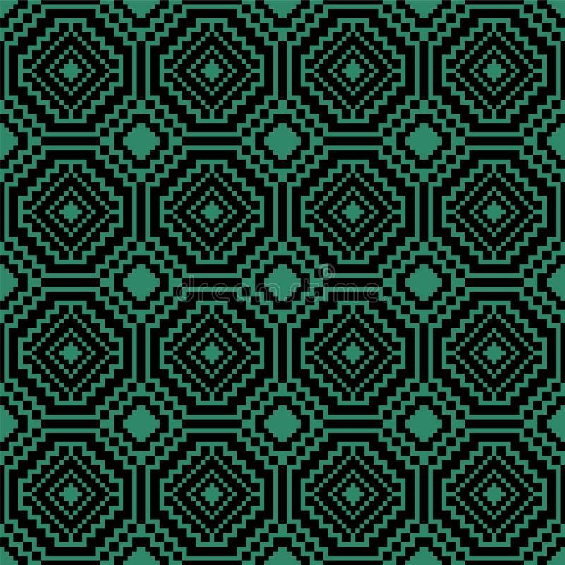 Antiek naadloos groen de meetkundekruis van de achtergrondmozaïekachthoek royalty-vrije illustratie
