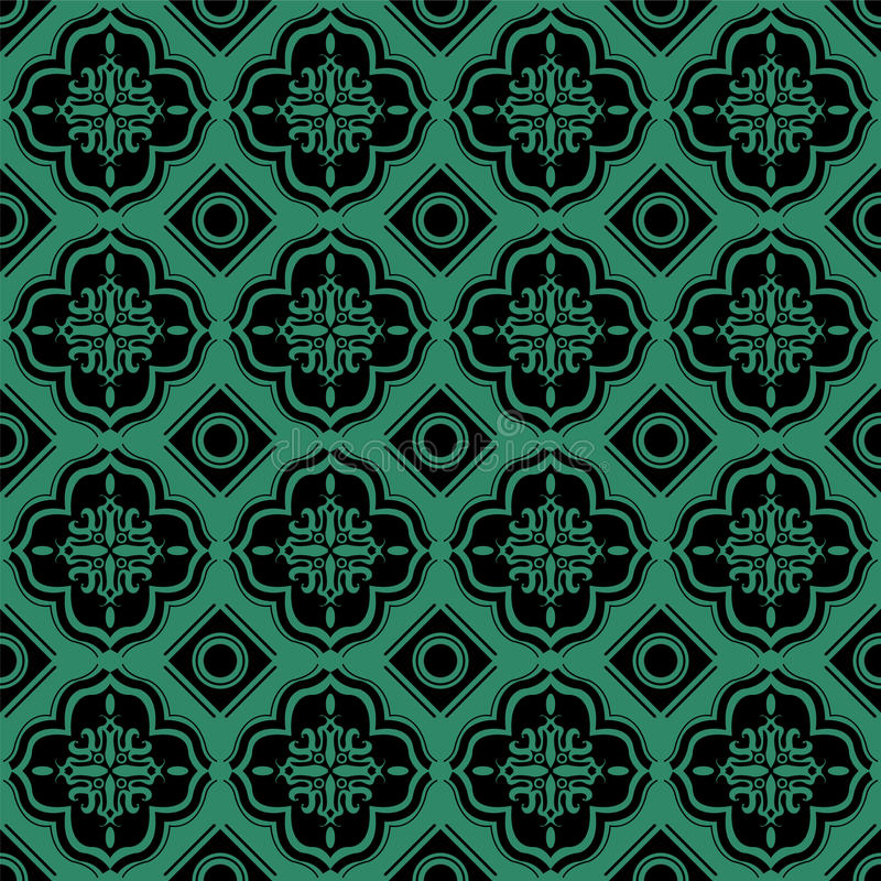 Antiek naadloos groen vierkant als achtergrond om meetkunde vector illustratie