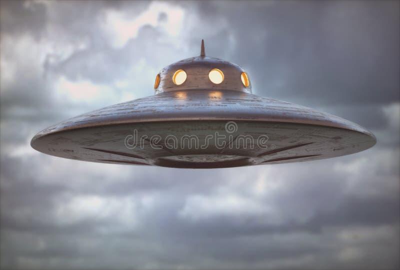 Antiek Niet geïdentificeerd het Vliegen Objecten UFO royalty-vrije illustratie