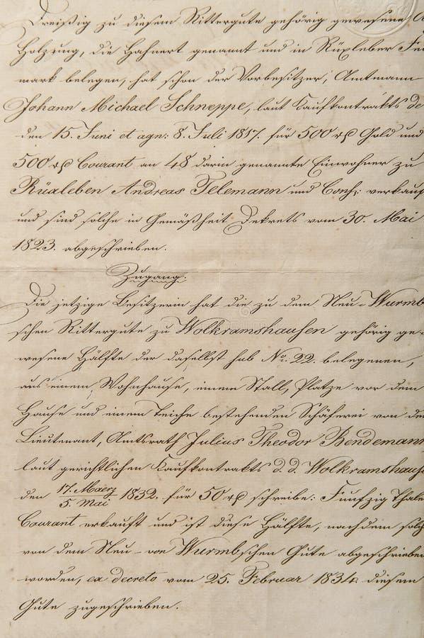 Antiek onleesbaar kalligrafisch handschrift uitstekend document backgr stock afbeelding