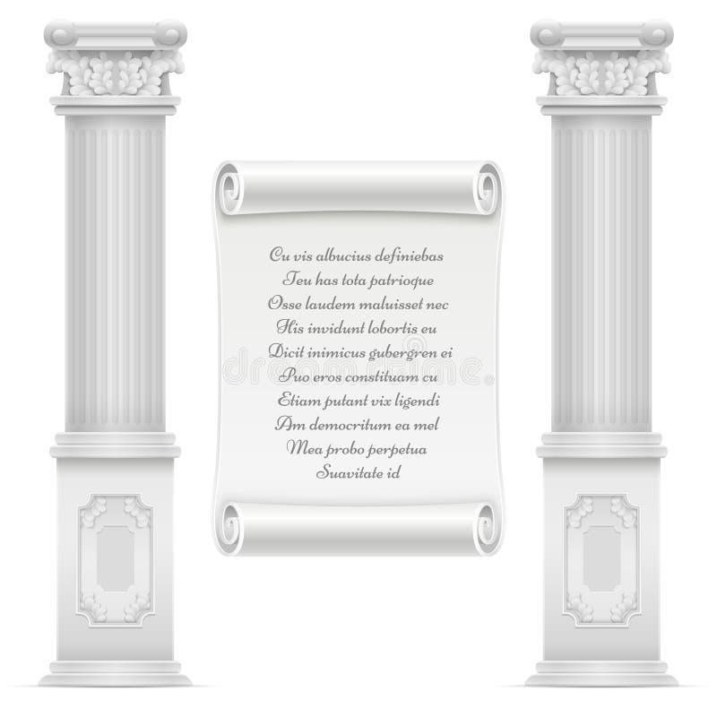 Antiek roman architectuurontwerp met marmeren steen colomns en tekst op muur royalty-vrije illustratie