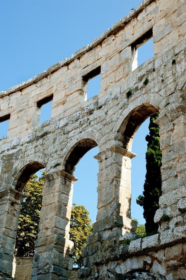 Antiek Roman forum in Pula stock fotografie