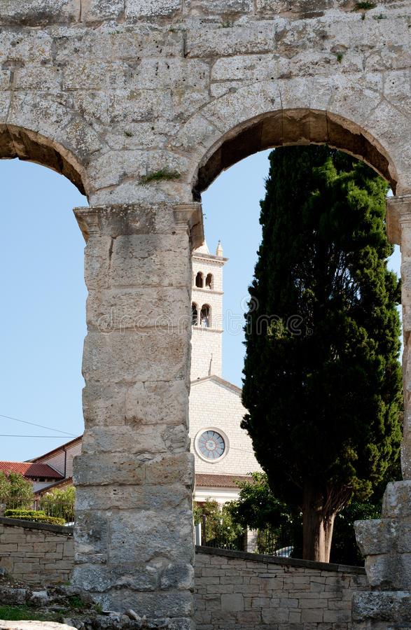 Antiek Roman forum in Pula royalty-vrije stock foto's