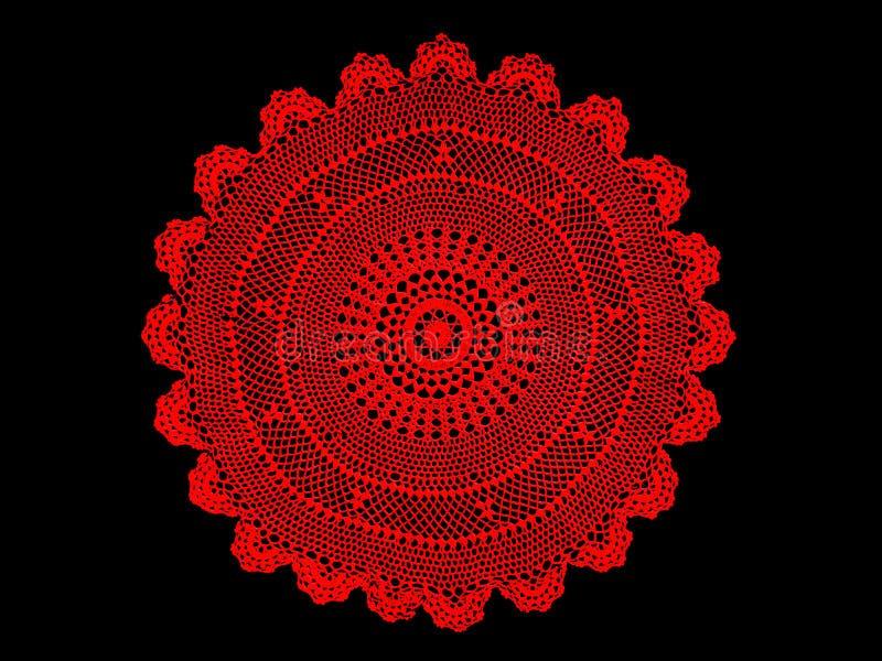 Antiek, rood het kanttafelkleed van oma's vector illustratie