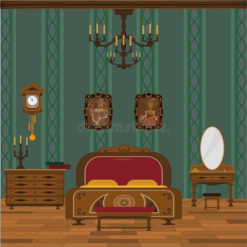 Antiek slaapkamerbinnenland met houten bevloering royalty-vrije illustratie