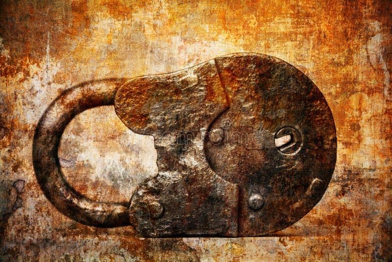 Antiek uitstekend roestig hangslot op een abstracte achtergrond royalty-vrije stock afbeeldingen