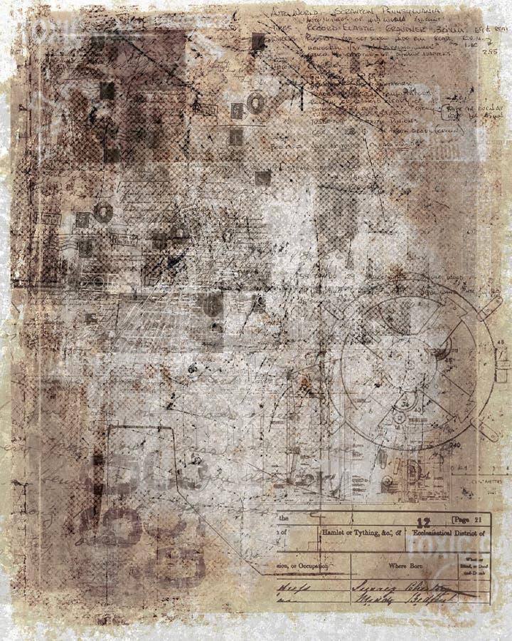 Antiek, versleten document stock illustratie