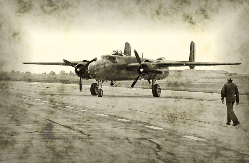 Antiek vliegtuig in oorlogstijd royalty-vrije illustratie