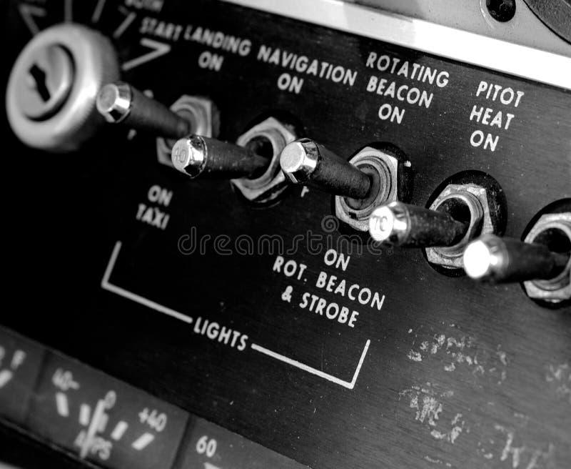 Antiek vliegtuigpaneel royalty-vrije stock afbeelding