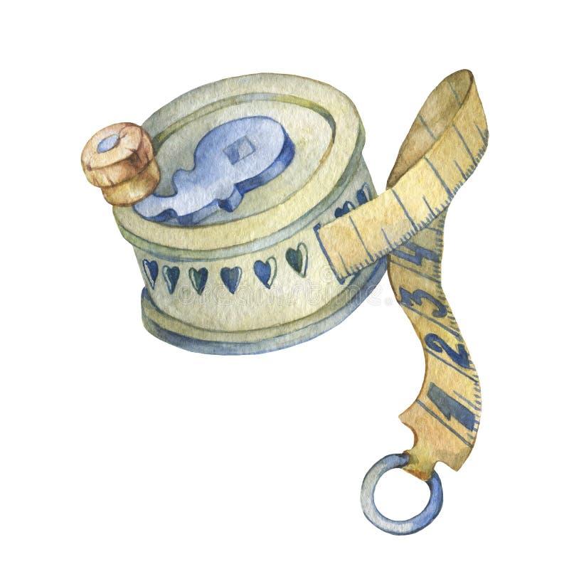 Antiek wijnoogst gesneden been het naaien meetlint vector illustratie