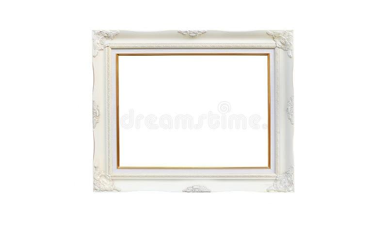 Antiek wit fotokader met lege ruimte voor uw die beeld of tekst op witte achtergrond wordt geïsoleerd royalty-vrije stock fotografie