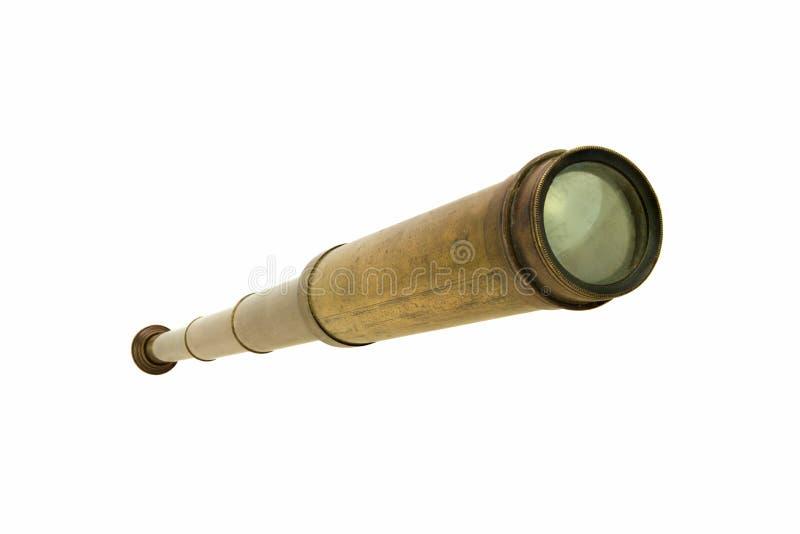 Antieke éénogige geïsoleerde telescoop royalty-vrije stock foto