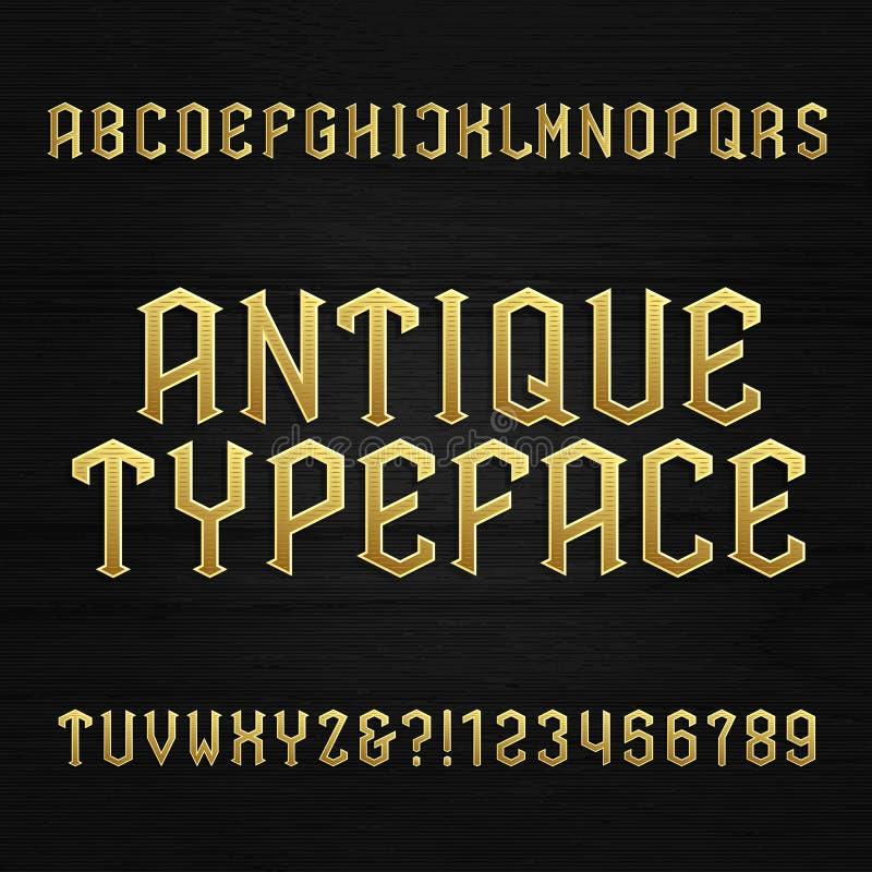 Antieke alfabet vectordoopvont De symbolen en de aantallen van typebrieven op een houten achtergrond stock illustratie