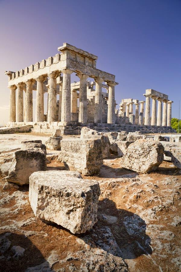 Antieke Aphaia-tempel op Aegina-Eiland, Griekenland royalty-vrije stock foto's