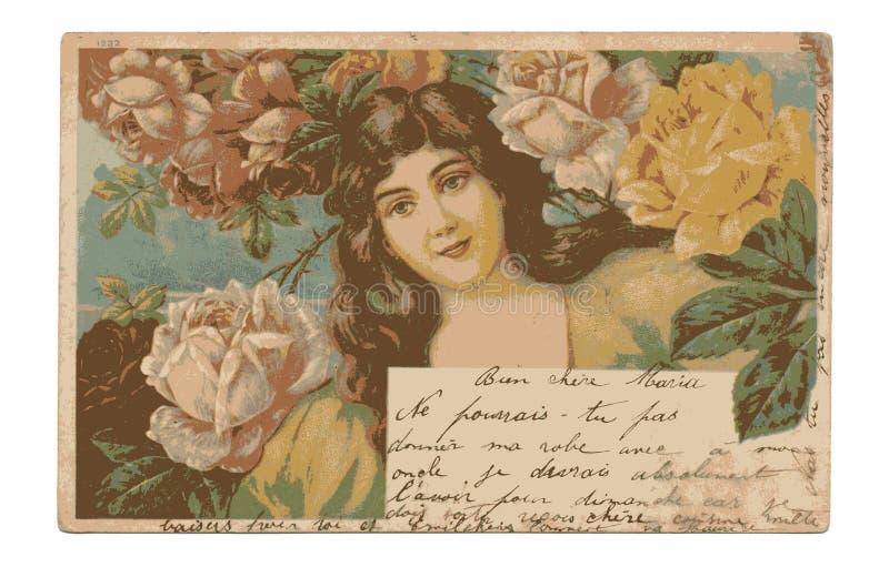 Antieke art decoprentbriefkaar met betoverende dame en rozen vector illustratie