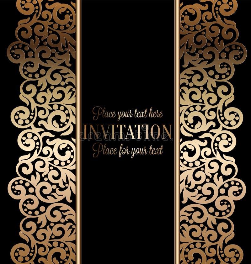 Antieke barokke huwelijksuitnodiging goud op zwarte