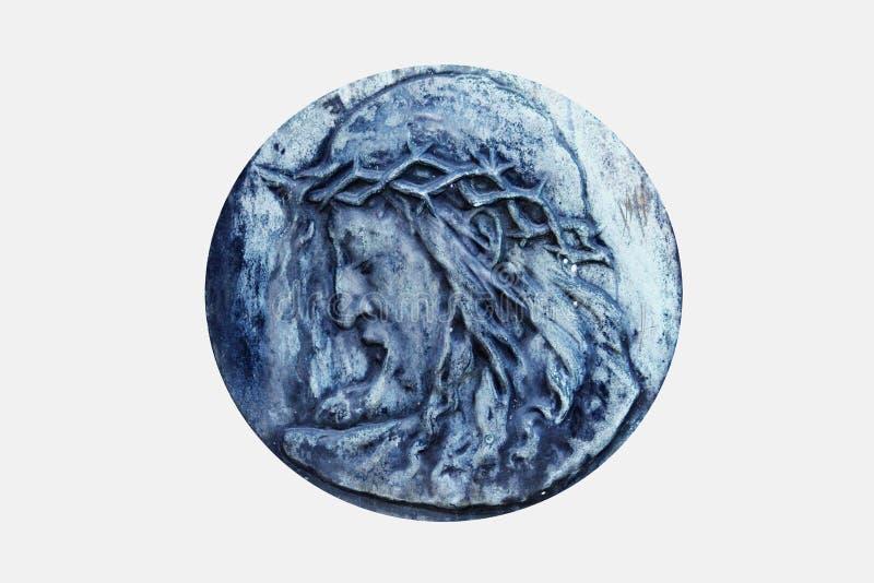 Antieke bas-hulp die Jesus Christ afschilderen stock foto's