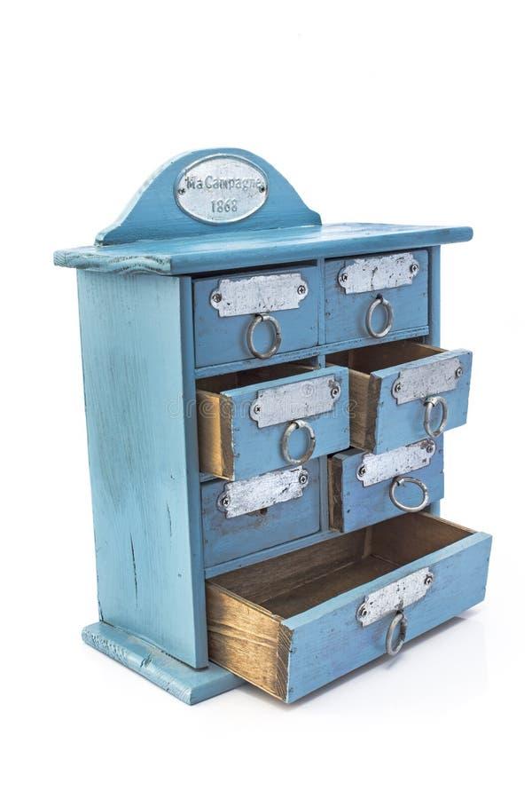 Antieke blauwe kast stock foto's